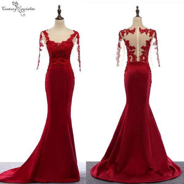 Vestidos de noche de sirena borgoña para mujer 2019 mangas largas apliques de encaje perlas vestidos de fiesta vestido de fiesta largo vestido de fiesta