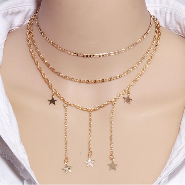 2019 New Three-layer chaîne en or étoile pendentif collier Bijoux De Mode Pour Les Femmes Fille Party Girl Accessoires