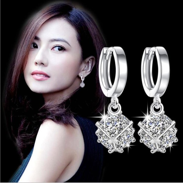 New temperament Korean love window silver plated magic square six diamond zircon earrings female models slim ear jewelry