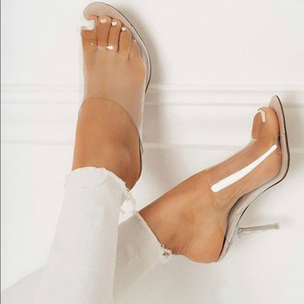 Women Slippers Comfortable Soft Sandals Sexy Women Shoes Party Crystal Transparent Hhigh Heel Slippers Sandalias Mujer