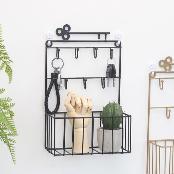 2019 Hot Sale Key Holder Wall Home Lock Storage Shelf Keys Hanger Iron Decorative Jewelry Hooks Crochet Makeup Organizer GY052