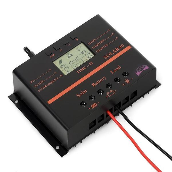 Panneau de batterie solaire Freeshipping avec boîte, contrôleur de charge solaire LCD de 80A 12V-24V avec ajustement USB de régulateur de panneau de batterie solaire
