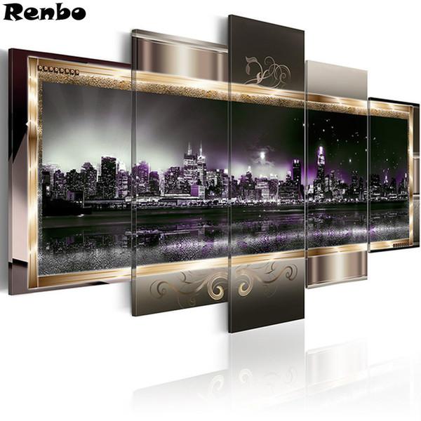 City night view arte da parede pintura diamante paisagem diy 3d diamante bordado diamante mosaico imagem de strass decoração 5 pcs