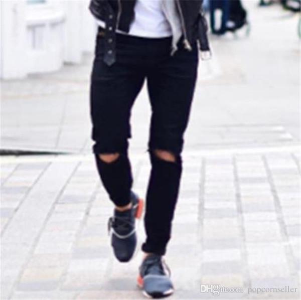 Européen Américain Hommes Jeans Créateur De Mode Bouton Zipper Fly Mi Taille Noir Déchiré Jeans Mode Rue Jeans Hommes