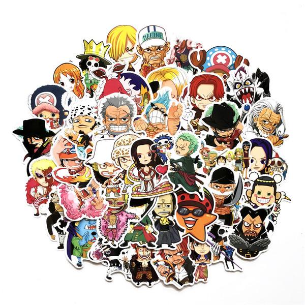60 pcs / set Nouveau UNE PIÈCE Luffy graffiti Autocollant Personnalité Bagages DIY autocollants de dessin animé PVC Mur stickers sac accessoires enfants cadeau jouets C
