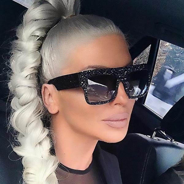 Luxury Diamond Sunglasses Woman Vintage Retro Oversized Flat Top Square Sunglasses Female Big Frame Shades Men's Glasses UV400