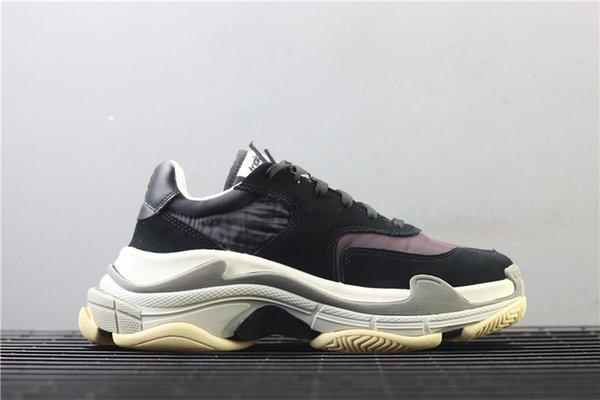 Alta calidad Retro marca hombres zapatos casuales zapatos de cuero de grano negro y gris Triple S 2.0 zapatilla de deporte papá moda casual al aire libre