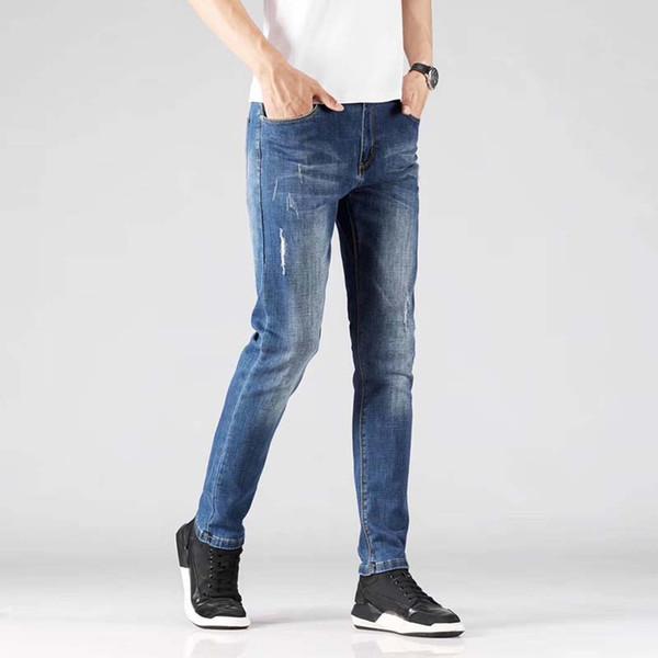 Coreano piedi sottili pantaloni in denim di business semplice tendenza di modo di stirata degli uomini jeans dei nuovi uomini
