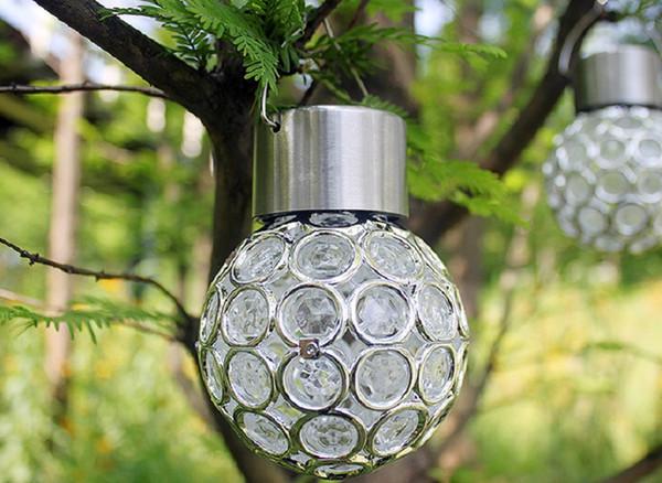 Güneş asılı lamba açık su geçirmez LED küçük avize ışık kontrolü hollow çim bahçe dekorasyon ışıkları (beyaz / renk değiştirerek)