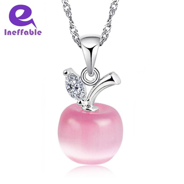 Ineffable Crystal Apple Pendant Silver Chain 925 silver Lovely Pink White Cute Simple Collier Argent Lovely Bijoux Jewelry
