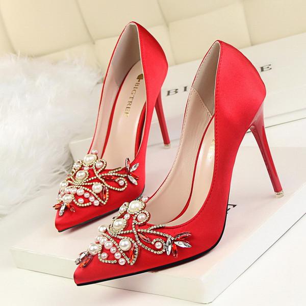 Frauen Pumpt Strass High Heels Schuhe Frauen Spitz Kristall Perle Party Schuhe Hochzeit Block Ferse Plattform Fersen