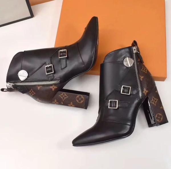 Moda Lüks Tasarımcı Kadın Çizmeler yüksek kaliteli Yıldız Trail Dantel-up Ayak Bileği Çizmeler Deri ve ağır tabanı ile eğlence bayan çizmeler 08