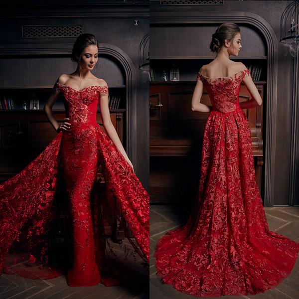 Flaming Red Mermaid Abendkleider mit abnehmbarem Zug aus Schulter Spitze Applique Perlen Prom Kleider nach Maß formelle Party-Kleid