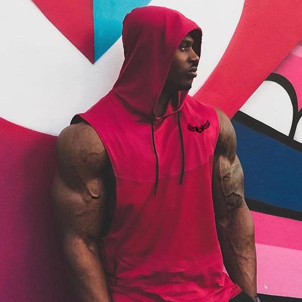 Summer men's vest loose printed hooded hoodie outdoor running exercise fitness vest man