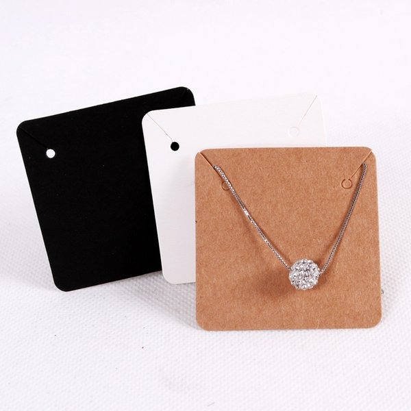 50pcs Lot 5x5cm Blank Kraft Paper Jewelry Display Necklace Cards Favor Label Tag For Jewelry Making Diy Accessories Wholesale