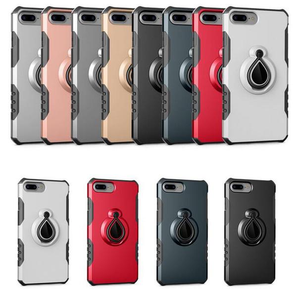 Novo design de forma de gota titular suporte de anel rotativo caixa do telefone shell à prova de choque à prova de poeira tampa traseira para iphone 7 plus 8 plus