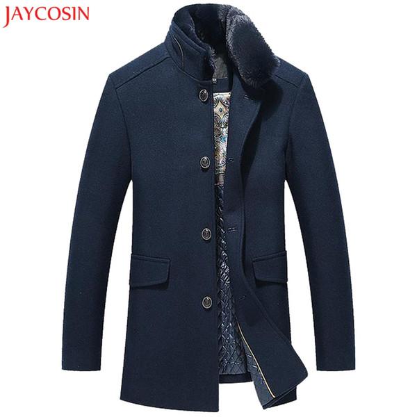 JAYCOSIN dos homens Casuais Casaco De Trincheira De Lã Inteligente de Negócios de Moda Longo Engrossar Magro Casaco Sólido Azul Amarelo Stand Jacket z1122