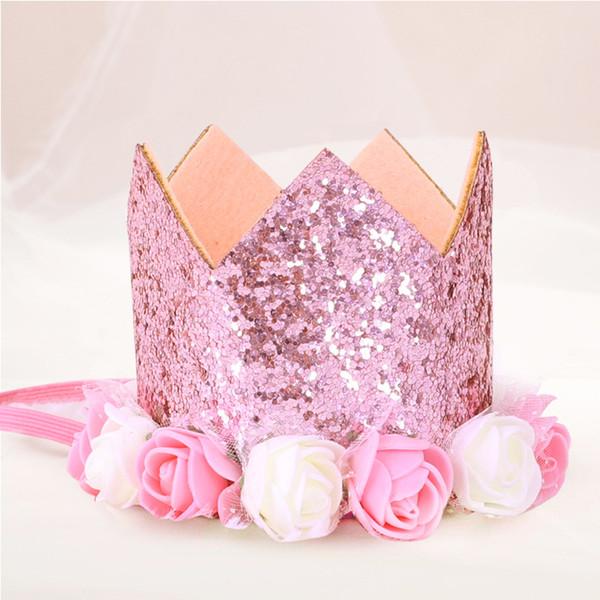 Baby Prinzessin Tiara Crown, Baby Mädchen / Kinder ersten Geburtstag Hut Sparkle Gold Flower Style mit künstlichen Rose Flower