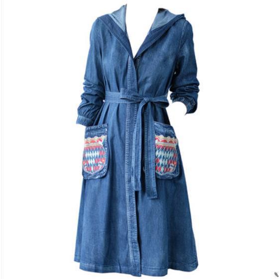 Denim mulheres casaco 2019 primavera nova trench coat com capuz Vintage bordado moda casual jeans