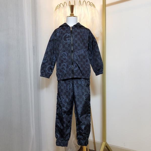 Hoodie Дети Детская одежда Осень New Pattern чистого хлопка с длинным рукавом вокруг шеи Twinset Корейский движения в ребенка Костюм Детские 0818