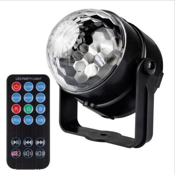 SXI 100pcs/lot wholesale Led Disco Ball Party Lights Strobe Dance Light 3w DJ Lights for Parties 7 Color Sound Activated Lamp Karaoke supply