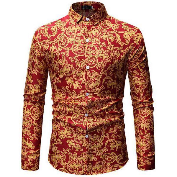 2019 rétro Floral Imprimé Homme Casual Chemises Mode Classique Hommes Robe Chemise Respirant Manches Longues Marque Vêtements 26 couleur