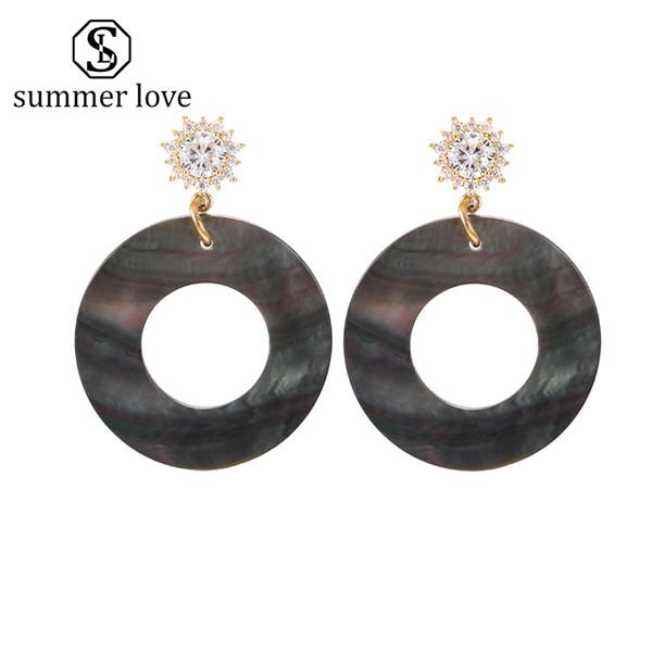 2019 nouveau cuivre incrusté zircon coquille naturelle Dangle boucle d'oreille pour les femmes Boho géométrique grand rond cercle creux boucle d'oreille de mode bijoux d'été