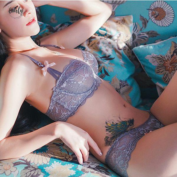 Hot Sexy Bra Set Plus Size 36 38 40 Ultrathin Underwear Women Set Lace White Bra Embroidery Transparent Brassiere