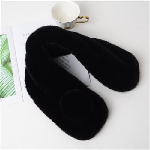Black Childen Kid Winter Warm Faux Rex Rabbit Fur Wraps Scarfs Scarves Soft Solid