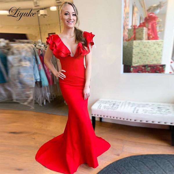 Sexy scollo a V con scollo a sirena Prom Dresses Red 2019 Ruffle Sleeves Sweep Train Abiti da sera per party formali Custom Made Liyuke