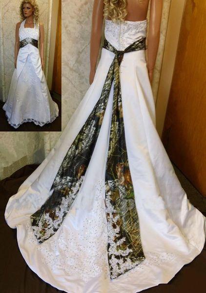 Robes de mariée Vintage Halter Neck Camo 2019 robes de mariée blanches et camouflage avec dentelle Appliques balayage train robes de mariée