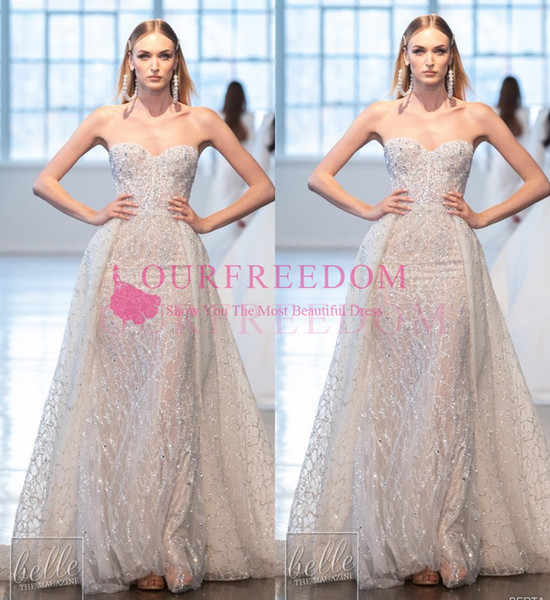 2020 Berta Mermaid Wedding Dresses Sweetheart Neck Shining Crystal Sequins Detachable Train Gorgeous Sequined Lace Bridal Gown Custom Made