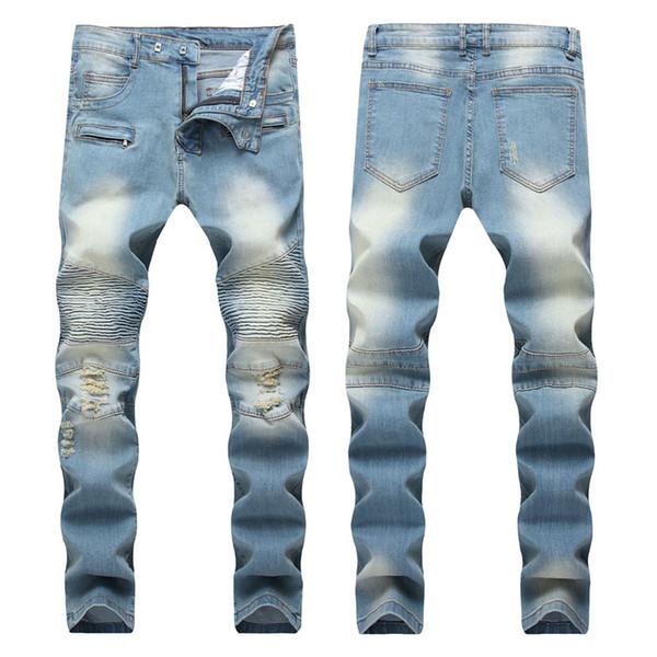 Designer pli bleu clair pantalons droits mens moderne mince long jean distrait jean vêtements de mode