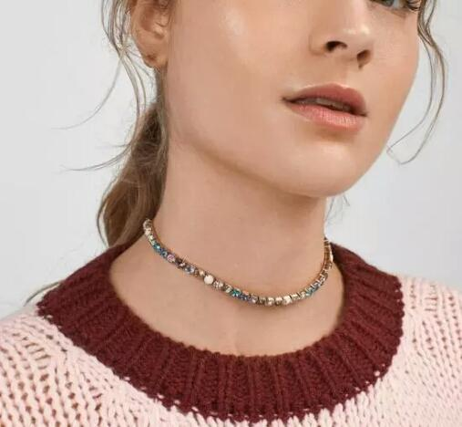 colorful diamonds chokers for women luxury crystal claw chains necklace western style alloy rhinestones necklaces fashion jewelry