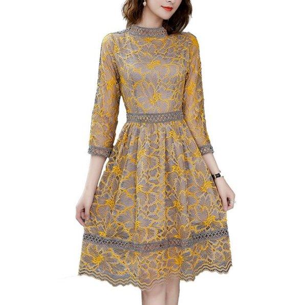 04c9a72b1ec8e0a Горячая Европа 2019 новые женские элегантные кружева платье из семи точек женского  большого размера Тонкий мода юбка слово бесплатная доставка