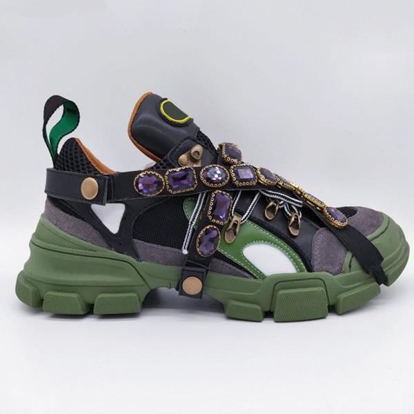 Flashtrek Sapatilha com Cristais Removíveis Marca de Moda Famosa Sapatos de Grife de Luxo Das Mulheres Dos Homens Clássicos Tênis de Alta Qualidade com Caixa Zx03