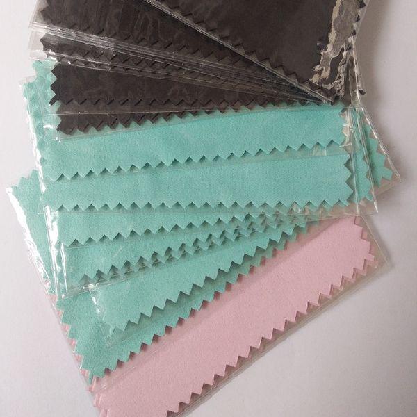Panno polacco d'argento 100pcs / pack per il pulitore dorato dei gioielli d'argento Nero opzione verde blu dei colori rosa Migliore qualità E-pacchetto di trasporto libero