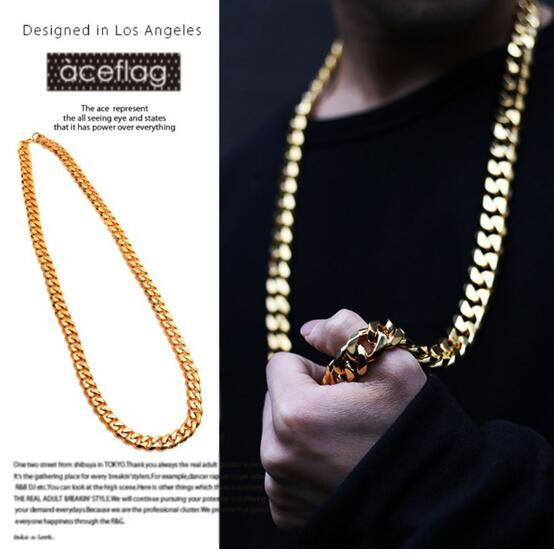 gold plated tide Cuban Link Chain Gold Plated Necklace 8 MM 26''39'' Gold Chain For Men High Quality Trendy Hip Hop Bling Jewelry