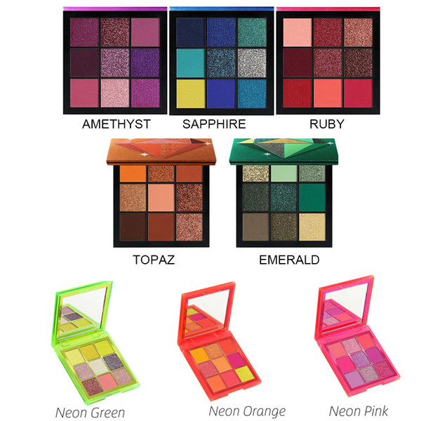 dropshipping HudaBeaut Obsessions Neon 9 Farben Lidschatten-Palette TOPAZ RUBY AMETHYST