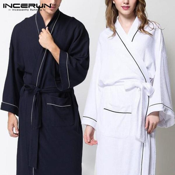 Women Pajamas Robe Men Long Sleeve Kimono Sleepwear Belt Solid Couple Men Ladies Bathrobes Casual Fashion Nightgown Homewear 5XL