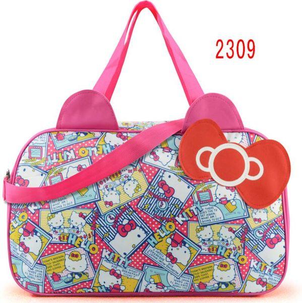 Waterproof Travel Bag Luggage Womens Girls Cartoon Shoulder Tote Duffle Bags Cute Hello Kitty Cat Handbags Accessories Supplies