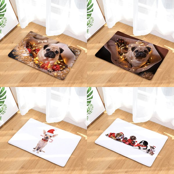 Merry Christmas Dog Puppy Doormat Bath Kitchen Carpet Decorative Anti-Slip Mats Room Car Floor Bar Rugs Door Home Decor Gift