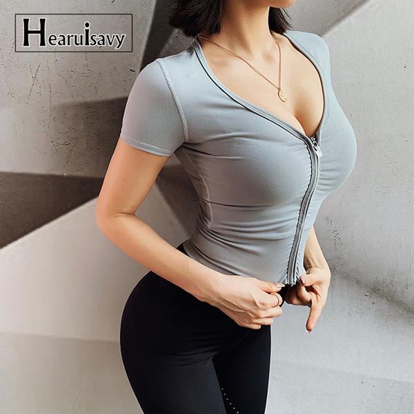 Sexy Com Decote Em V Gym Yoga Camisas Mulheres Zipper Manga Curta Esporte Top Colheita Topos de Fitness Ao Ar Livre Correndo T-shirt Sportswear Elástico