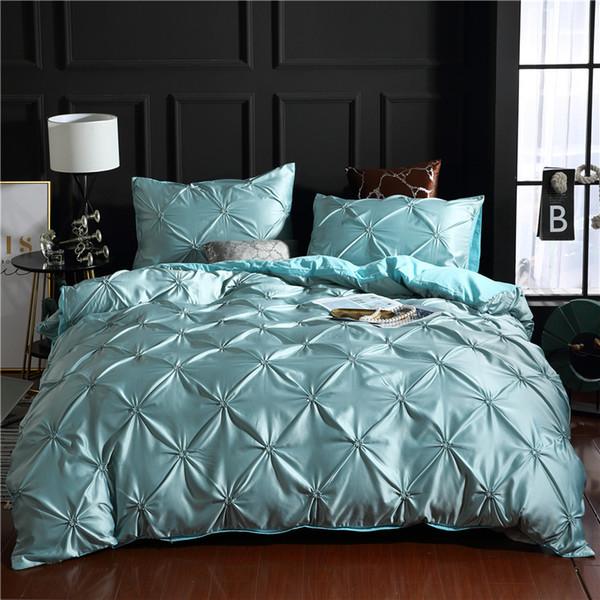 Blue Luxury Super Soft Washed Silk Duvet Cover Set 3Pcs/Set Pinch Pleat Brief Bedding Sets Queen King Size