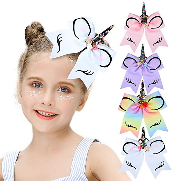 Children's Unicorn Hair Bows Girls Cheer Bows With Elastic Band for Cheerleader Girls hair ring rubber band Girls Headdress Hair Accessories