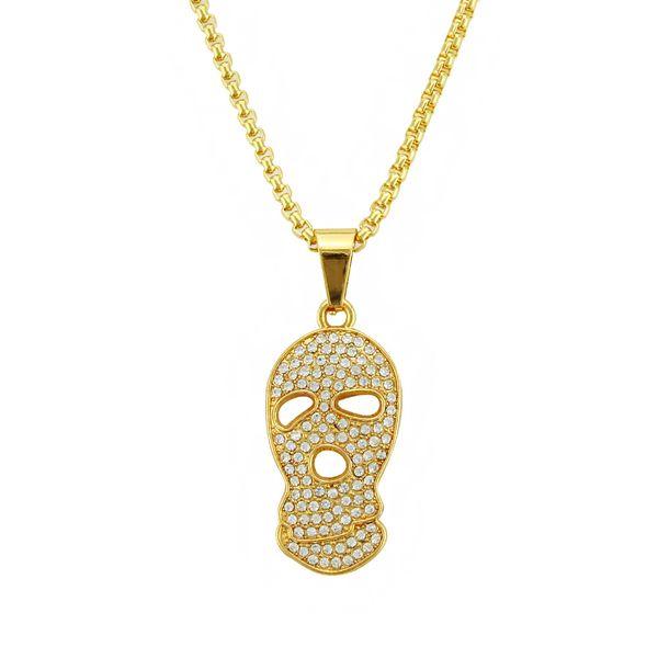 Men Bling 76Cm Rhinestone Skull head Big Necklaces Golden Hip Hop Ghost FACE Chains Pendants Rapper Women Jewelry