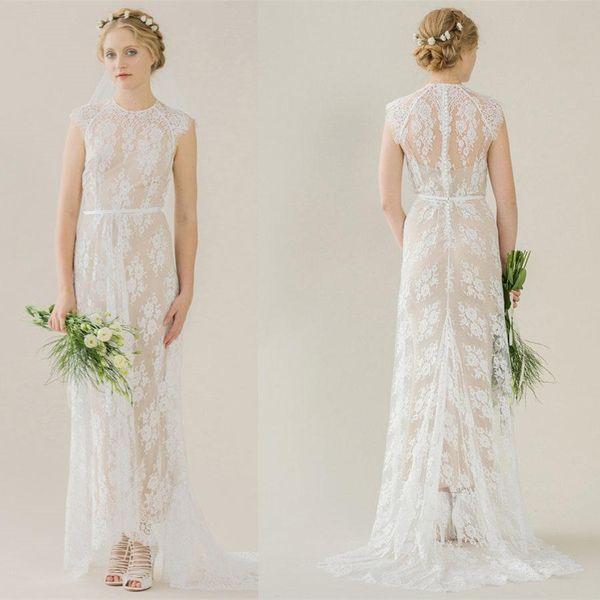 8e2c84263f Simple Bohemian Lace Wedding Dresses Long Train 2019 Sheath Beach Boho  Bridal Gowns Sexy Illusion Neck Champagne Inside Country Bride Dress  Dresses ...