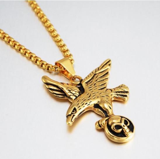 Ожерелье из титановой стали с черепом в стиле хип-хоп 2019 года с 9720B-7