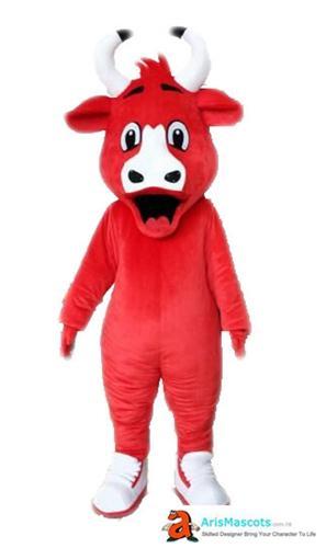 100% fotos reales Adulto divertido toro mascota traje deportes mascotas para equipo traje vestido personalizado animales mascotas publicidad personalizada piel furotte