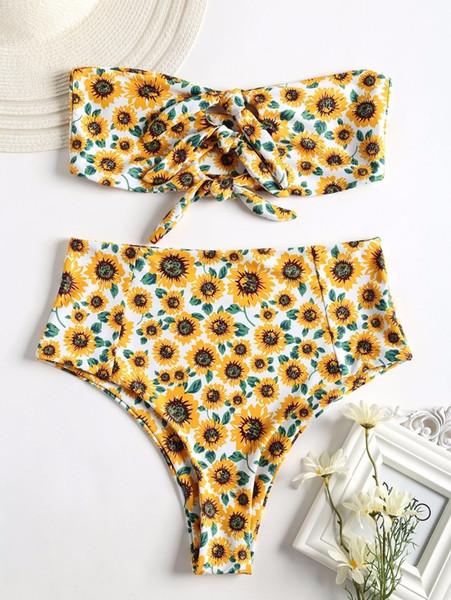 2018 Women Sexy Strapless High Rise Sunflower Swimsuit Floral Printed Bikini Set Swimwer Bathing Suit Maillot De Bain Femme Y19072601